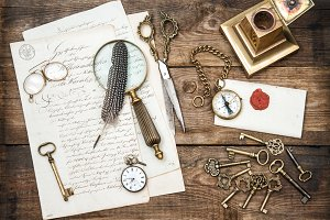 Antique office supplies and keys