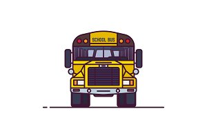 Line classic yellow school bus