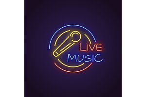Live music neon banner