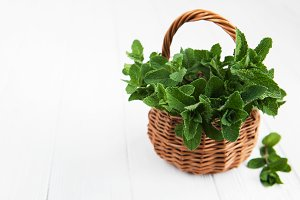 Basket with mint