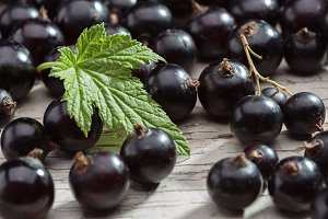 Black currant on wooden table.