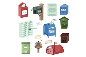 Mail box vector post mailbox or
