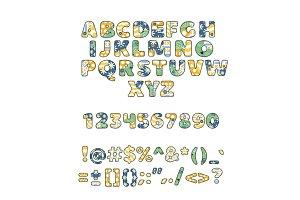 Alphabet patchwork vector handmade