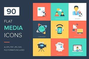 90 Media Flat Icons