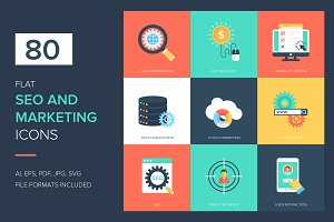 80 SEO and Marketing Flat Icons