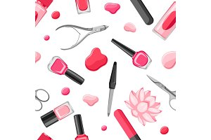 Seamless pattern with manicure tools
