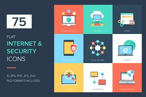 75 Internet and Security Flat Icons