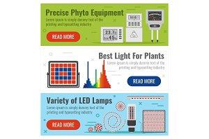 Three banner for phyto light bulbs