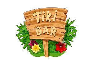 Tiki bar wooden banner. Hawaiian