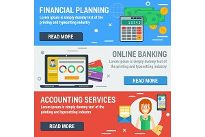 Three horizontal banners FINANCIAL