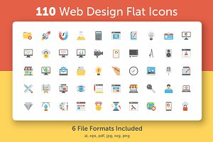 110 Web Design Flat Icons