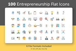 100 Entrepreneurship Flat Icons