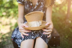 Hipster girl with straw hat