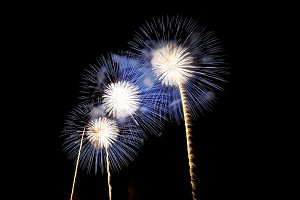 Fireworks of white and blue