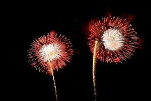 Amazing red and white fireworks