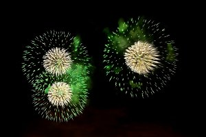 Fireworks of green and white