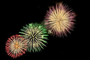Fireworks of green, red, purple