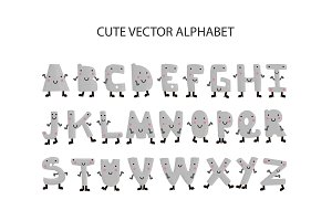 Kid font and alphabet.Cute letters