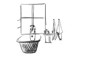 Hand drawn Bathroom. Home furniture