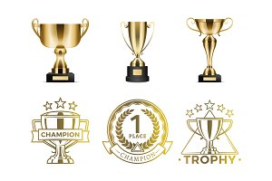 Gold Goblets and Round Emblems for