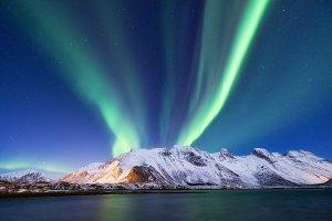 Aurora borealis on Lofoten islands