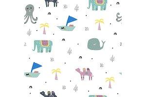 Cute animals in jungles. pattern