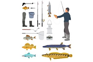 Fishing Equipment and Fisher with