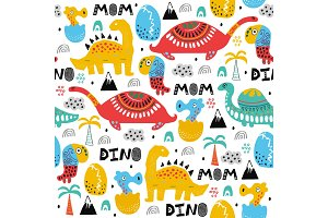 Pattern with dino , palms and eggs