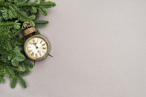 Christmas decoration vintage clock