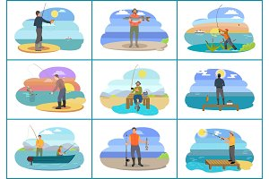 Fishing People Images Set Vector