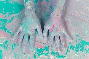 women's hands painted