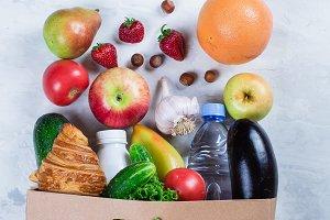 Full Grocery Paper Bag of Food