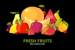 cartoon fruits background. colorful