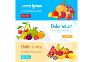 cartoon fruits banners. colorful