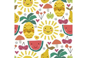 pattern with fruits.Summer poster.