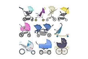 Stroller vector baby-stroller and