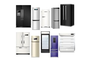 Fridge vector refrigerator or