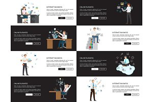 Internet Business Pages Set Vector