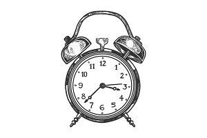Old fashioned alarm clock vector