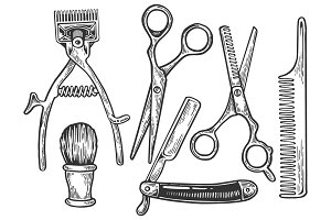 Barber tools engraving vector