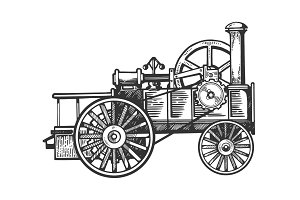 Steam engine tractor engraving