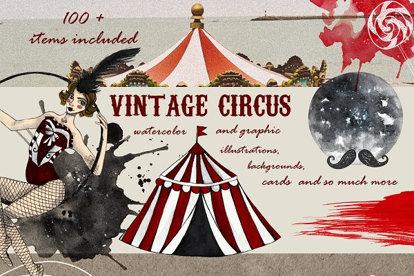 Vintage circus design set