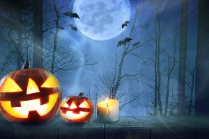Halloween pumpkins in forest