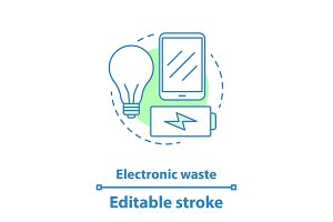 Electronic waste concept icon