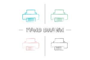 Printer hand drawn icons set