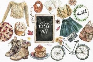 Hello Fall clipart. Watercolor