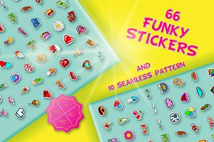 66 funky stickers & 10 patterns