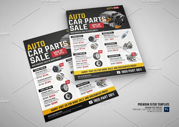 car parts shop promo sale flyer flyer templates creative market