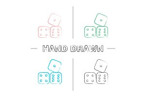 Dices hand drawn icons set