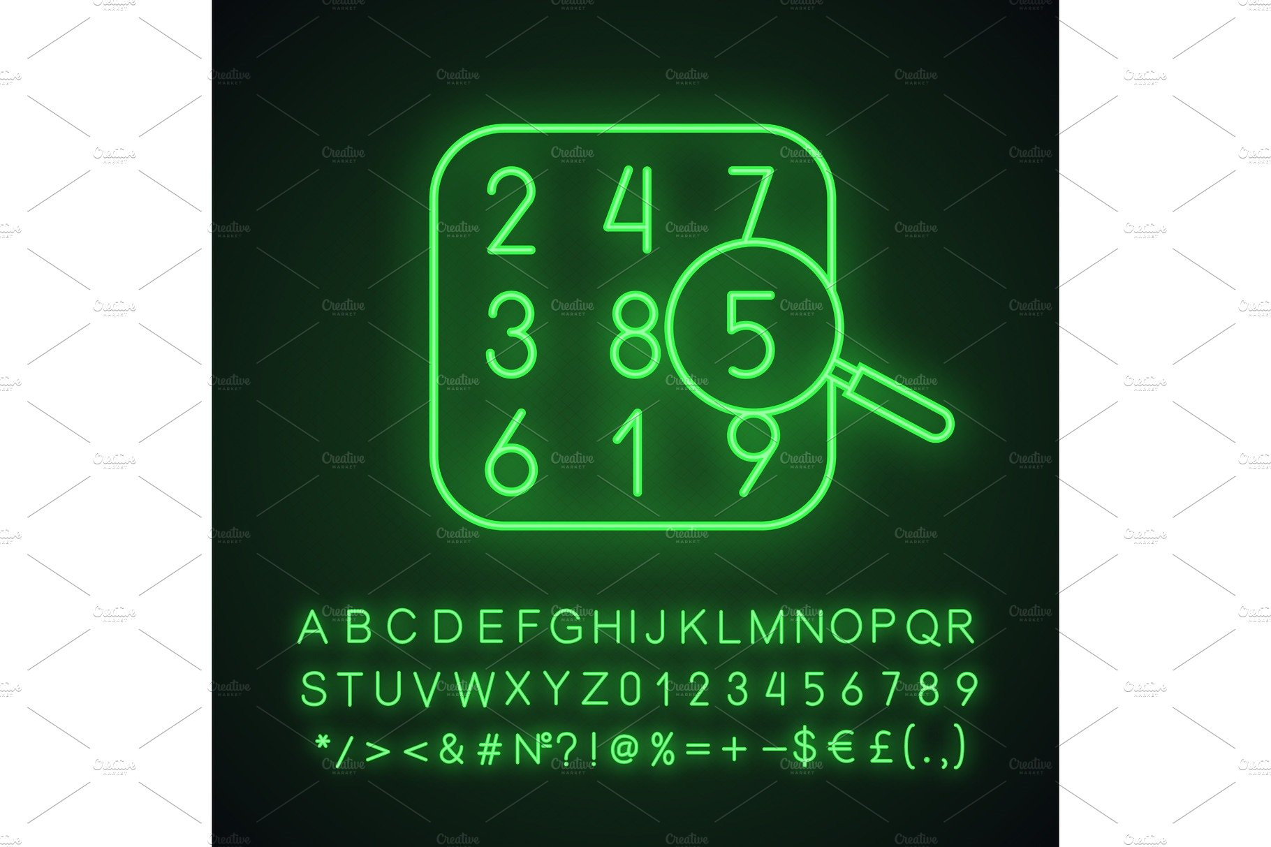 Number theory neon light icon